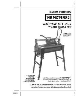Craftsman 118.22000 Tile Wet Saw Owners Instruction Manual