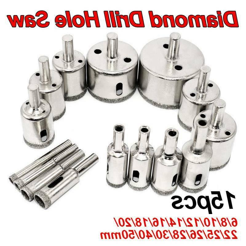 15pcs diamond drill bit hole saw cutting