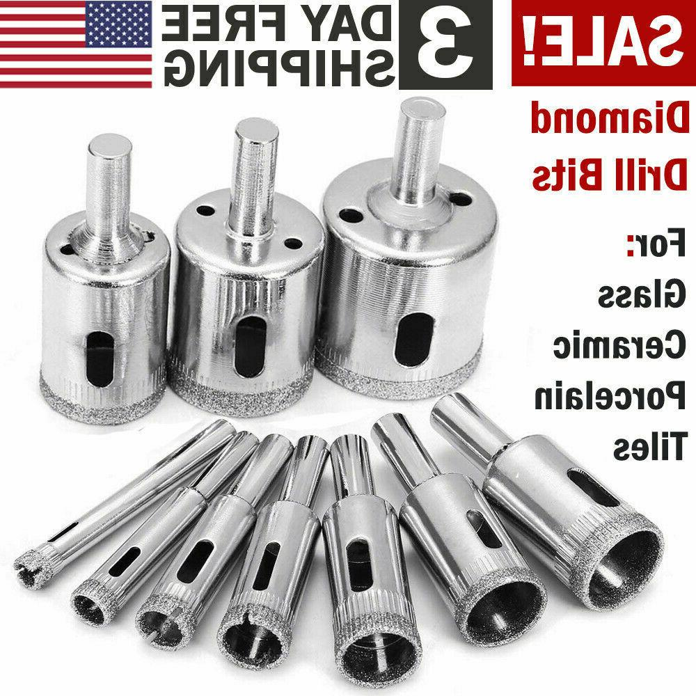 Glass Drill Bit Set Diamond Core Hole Cutting Tools Coring T